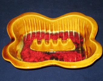 California USA Pottery Ashtray/Gold Red Ashtray/Vintage Ashtray/Maurice of Ca 1703 Ashtray/Retro Gold Red Black Ashtray