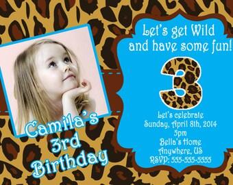 Leopard Print Birthday Invitations, Leopard Print Digital Invitations, Turquoise Leopard Print Birthday Party Supplies