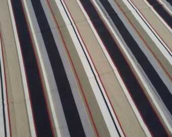 "STRIPED gray tan black FABRIC,39""x45"",Vintage fabric"