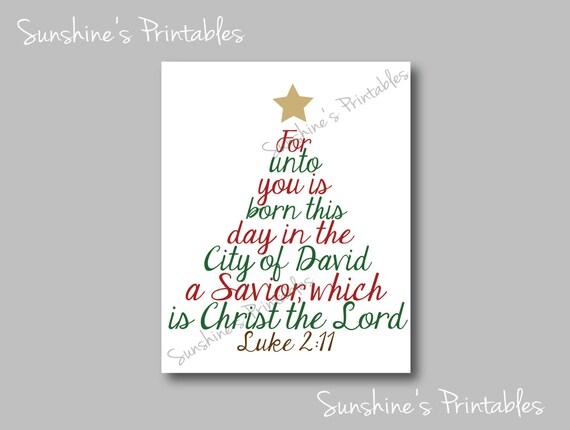 PRINTABLE Luke 2.11 Scripture Christmas Wall Decor Tree Word