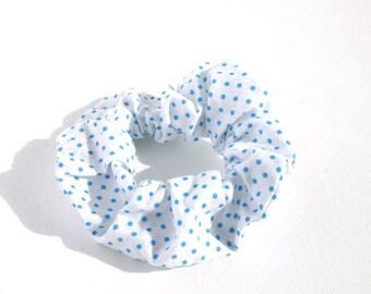 White Scrunchie With Light Blue Polka Dot Pattern, Elastic Hair, Decorative Elastic Hair, Hair Accessories, Stocking Gift