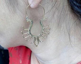 Unique earrings, brass earrings