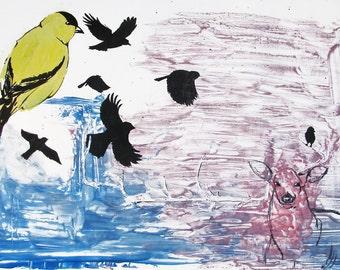 Original Abstract Monotype print, Bird and Deer
