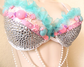 Cotton candy inspired rave / festival / costume bra!