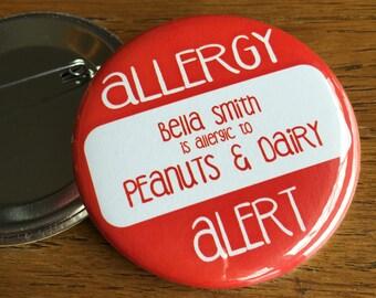 Allergy Pin, Safety ID, Allergy Alert, Emergency, Allergy Button, Theme Park, ID Button, Peanut Allergy, Dairy Allergy, Gluten Allergy