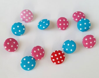Fabric Polka Dots Buttons, Set of 12 Fabric Buttons, Polka Dots Fabric, Fabric Covered Buttons, Handmade Buttons, Polka Dots Fabric Buttons