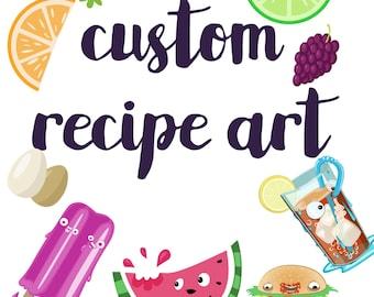 Custom recipe art, custom recipe illustration, kitchen decor, custom art