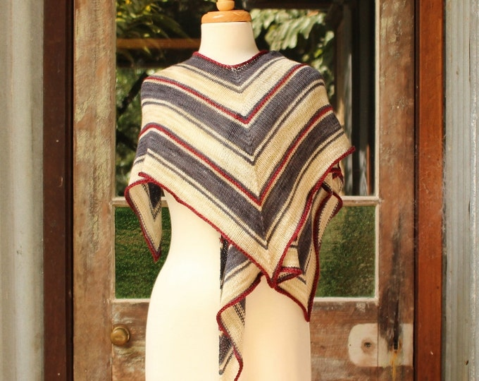 Featured listing image: Yarn and Pattern Kit.  Striped Hummingbird Wrap.  Original colourway.