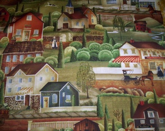 """1 Yard X44"""" Country Store by Betty Caithness Windham Fabrics Scenic Amish life bakery book store"""