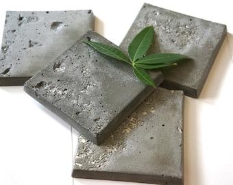 Square Warm Gray Color Concrete Coaster with Honey Onyx Pieces. Cement Coaster