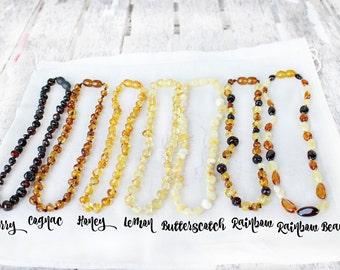 Baltic Amber teething necklace, amber teething necklace, handmade, teething, natural amber, baby