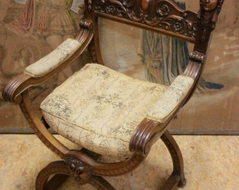 Antique French Arm Chair Wonderful Carved Female Figures GREAT Renaissance Design sku#6960