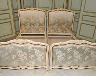 Antique Painted French Twin Beds Beautiful Floral Upholstered STUNNING Bedroom Furniture #5562