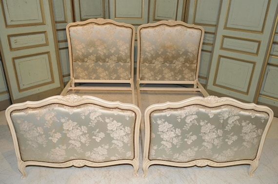 Antique Painted French Twin Beds Beautiful Floral Upholstered