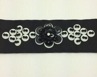 BUTTON GROSGRAIN RIBBON Bracelet Black White *Free Shipping*