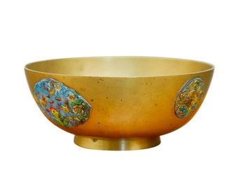 Chinese Brass Bowl with Vibrant Enameled Medallions
