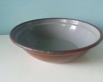 Brown enamel bowl / serving dish , grey inside. Vintage antique