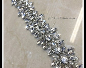 1 Yard Hot Fix Beaded Rhinestone Bridal Trim (Rhinestone Belt/Swarovski Shine) #0402