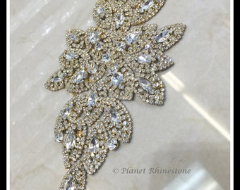 large Rhinestone Bridal applique/ Swarovski applique shine (Silver, Gold, Rose Gold, Ab, Black) #0111