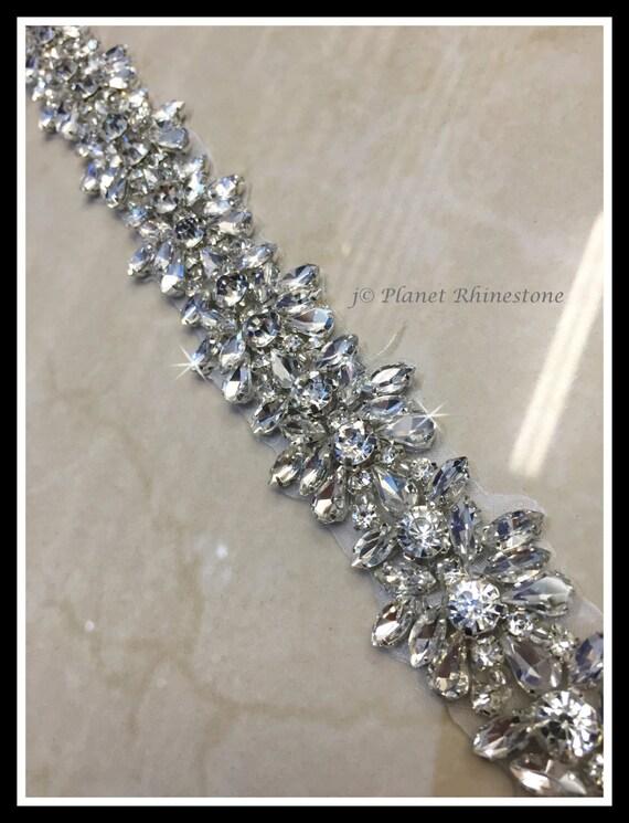 1 Yard Hot Fix Beaded Rhinestone Bridal Trim (Rhinestone Belt/Swarovski Shine) #0402