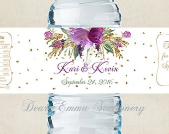 "Personalized Water Bottle Labels - 100% Waterproof Polyester Labels - Wedding Favors 2""x8.5"" self-stick labels - Purple Bouquet Faux Gold"
