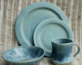Glacier Morning Dinnerware Set- Handmade Stoneware Pottery- Icy Blue Plates and Bowls- 4 Piece Dinnerware Set
