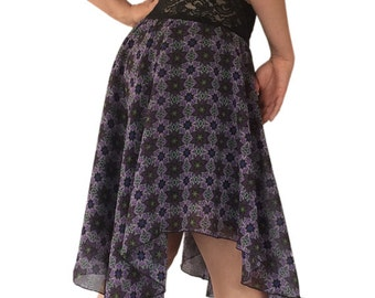 Purple-Olive Chiffon Circle Tango Skirt