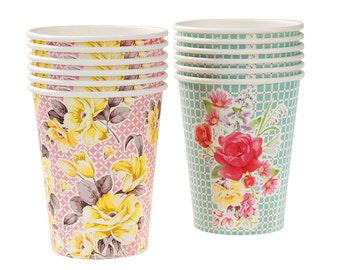 Paper Cups, Floral, Cups, Wedding Shower, Bridal Tea, Garden Party, Hen Party, Baby Shower, Wedding Shower, Party Cups, Shabby Chic Party