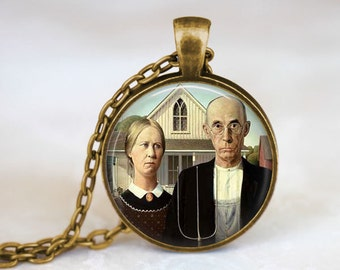 American Gothic Jewelry • Grant Wood • Famous Painting Necklace • Americana Art  • Modern Art