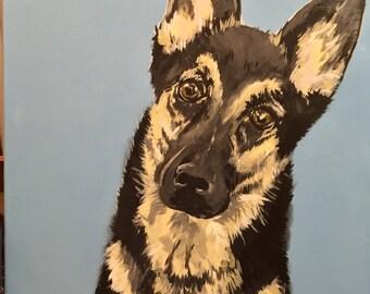 Custom 18x24 Pet Portrait - Acrylic on Canvas