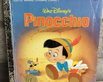 Vintage Disney Pinocchio Little Golden Book ,Pinocchio Little Golden Book, Little Golden Book