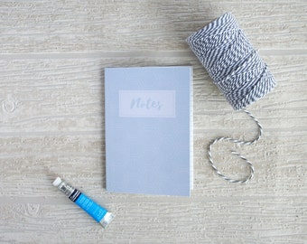 Small patterned notebook, A6 size, blue hexagon pattern, baby blue jotter, 48-page lined notebook printed on recycled paper