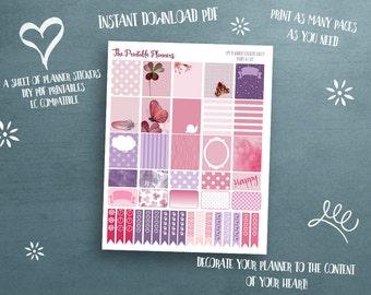 Printable Planner Stickers, EC planer compatible, printable stickers, pink, watercolor stickers, life planner stickers, Erin Condren fit