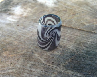 Black and White Dread Bead
