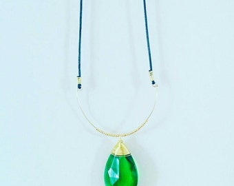 Long necklace rope leather with huge Emerald Crystal