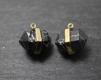 P0228/Anti-Tarnished Gold Plating Over Brass/Genuine Black Marble Hexagonal Pendant/13x13mm/2pcs