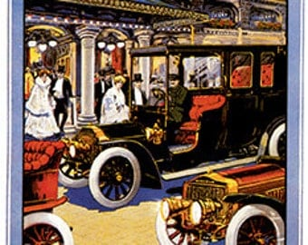 Vintage French Auto Art Print ready for framing, puzzle