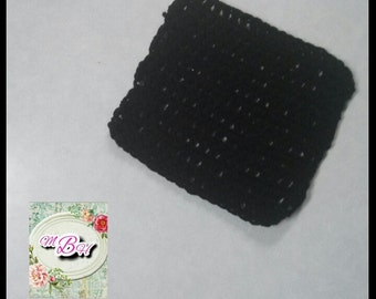 Crochet dishcloth, black, ready to ship