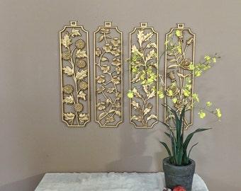 Large Vintage Metal Wall Decor / Gold Wall Decor / Wall Art / Vintage Wall Art / Cherry Blossom Art / Rose Blossom Art / Gold Wall Art