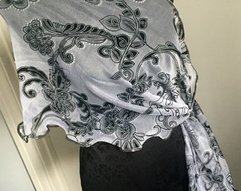 shawl cover up scarf wrap white black print with silver highlights flowers lace wedding holiday