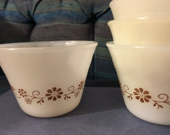 Dynaware Pyr-O-Rey by Vitrocrisa Vintage Rare 1950's Monterrey Mexico Milk Glass Brown Floral Fruit/Custard/Flan/Pudding Cups