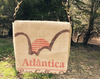 Burlap coffee bag purse
