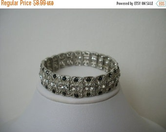 ON SALE Vintage Silver Tone Inlayed Black And Clear Rhinestone Stretch Bracelet S # 360