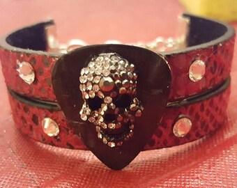 Red and black leather bling skull bracelet