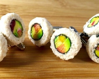 Polymer clay sushi roll cufflinks