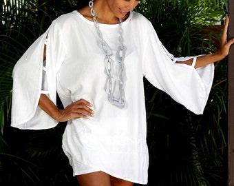 OCHEA Sexy Cut Off Sleeve Organic Cotton Boat Neckline Tunic