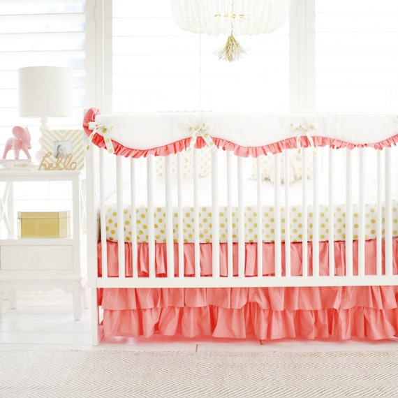 Marion S Coral And Gold Polka Dot Nursery