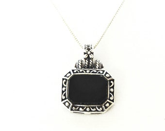 Onyx Necklace Sterling Silver