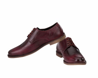 Mens Formal Burgundy Wingtip Brogues | Jacksin Shoes