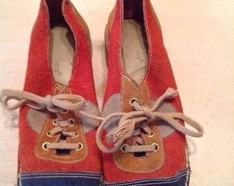 60s Keds Suede Color Block Shoes Size 7